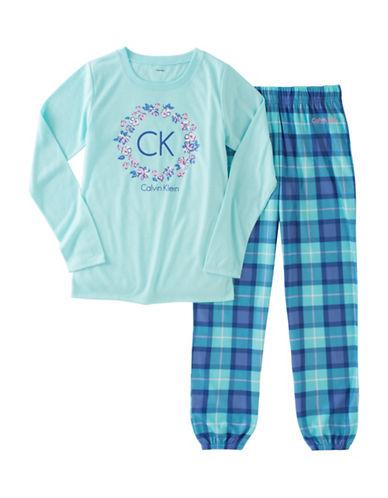 Calvin Klein Plaid Logo Pyjama Set-BLUE-10-12 88366014_BLUE_10-12
