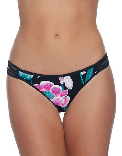 Body Glove Flirty Surf Rider Swim Bottoms-BLACK MULTI-Small