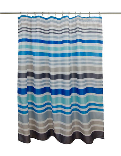 Dh Vibe Stripe Shower Curtain-BLUE-One Size