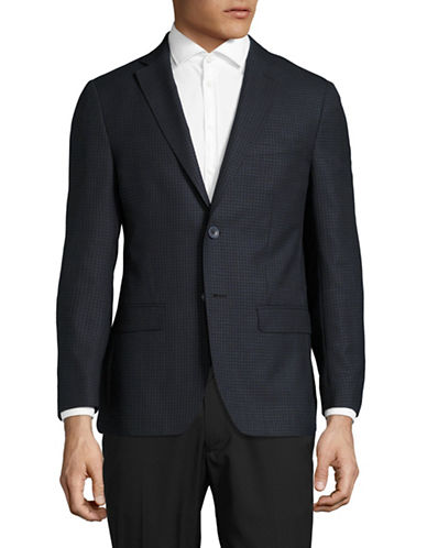 Dkny Slim-Fit Plaid Wool-Silk Suit Jacket-BLUE-40 Regular