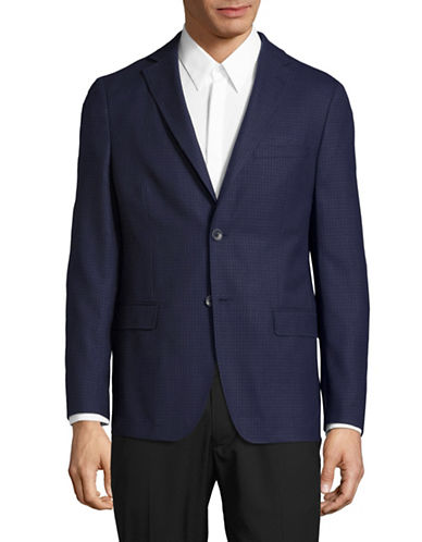 Dkny Plaid Wool Sports Jacket-BLUE-46 Regular