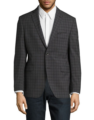 Black Brown 1826 Jack Slim-Fit Plaid Wool Sports Jacket-GREY-46 Regular