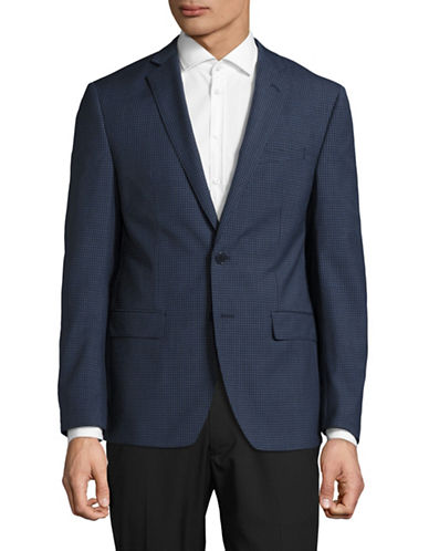 Calvin Klein X-Fit Slim Checkered Wool Sports Jacket-BLUE-46 Regular