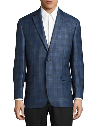 Lauren Ralph Lauren Slim Fit Ultraflex Plaid Silk-Wool Dress Jacket-BLUE-46 Tall