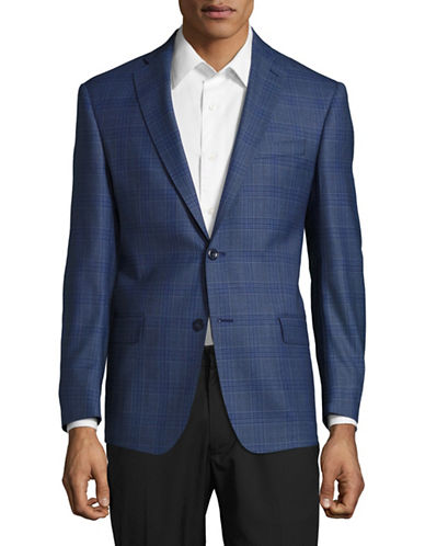Michael Kors Plaid Suit Jacket-BLUE-46 Regular