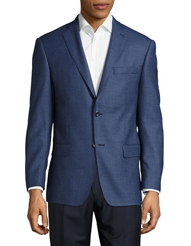 Michael Kors Slim-Fit Tonal Check  Wool Sport Jacket-BLUE-46 Regular