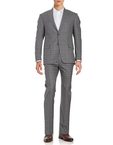 Michael Kors Plaid Wool Suit Set-GREY-42 Tall