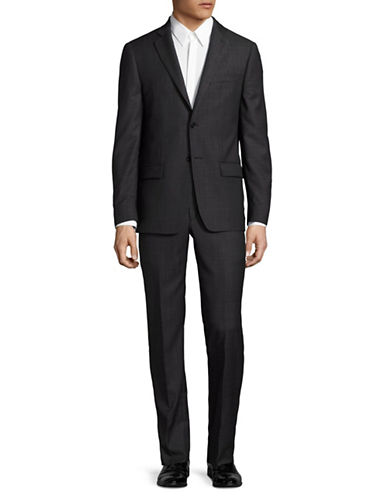 John Varvatos Star U.S.A. Slim Fit Chambray-Look Wool Suit-BLACK-44 Tall