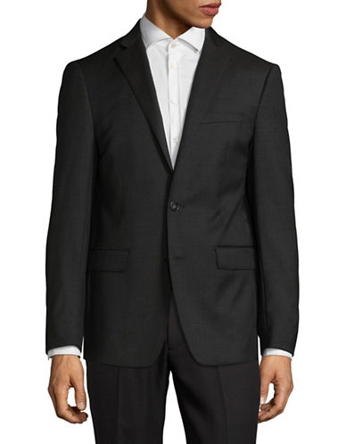 Calvin Klein X-Fit Slim Wool Suit Jacket-DARK BROWN-42 Tall