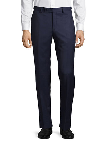 Calvin Klein X-Fit Slim Wool Suit Pants-NAVY-33X34