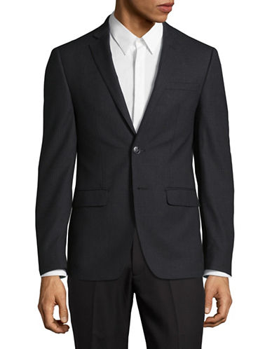 Calvin Klein Notch Lapel X-Fit Slim Wool Blazer-CHARCOAL-44 Short