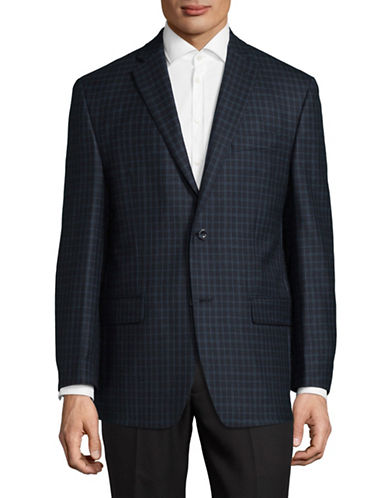 Michael Michael Kors Checkered Wool Sports Jacket-BLACK/BLUE-46 Regular