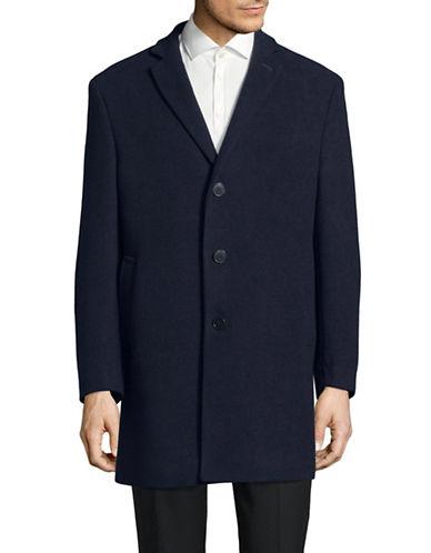 Calvin Klein X-Fit Slim Wool-Blend Topcoat-BLUE-46 Regular
