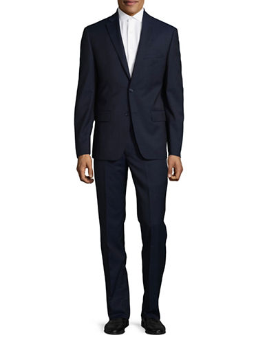 Dkny Natural Stretch Tonal Wool Suit-BLUE-38 Regular