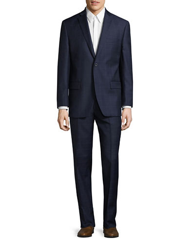Michael Michael Kors Crosshatch Two-Button Wool Suit-BLUE-42 Short