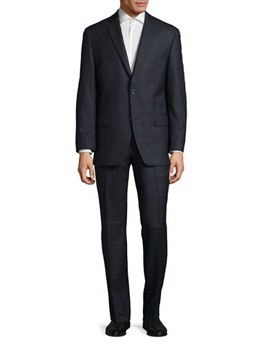 Michael Michael Kors Two-Button Wool Check Suit-BLUE-42 Regular