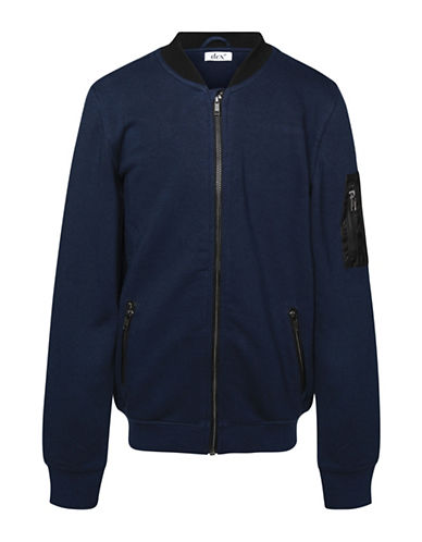 Dex Rib-Knit Bomber Jacket-BLUE-14-16