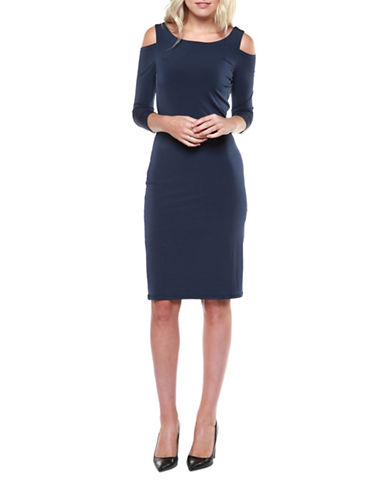 Dex Cold-Shoulder Knit Dress-DEEP NAVY-Medium