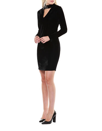 Dex Velvet Sheath Dress-BLACK-Small