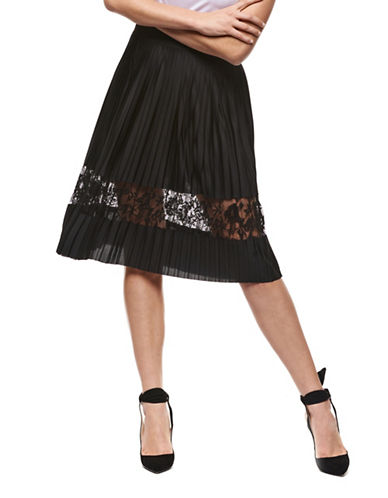 Dex Pleated Knee-Length Skirt-BLACK-Large