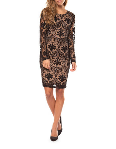 Dex Long-Sleeve Lace Dress-BLACK-X-Large