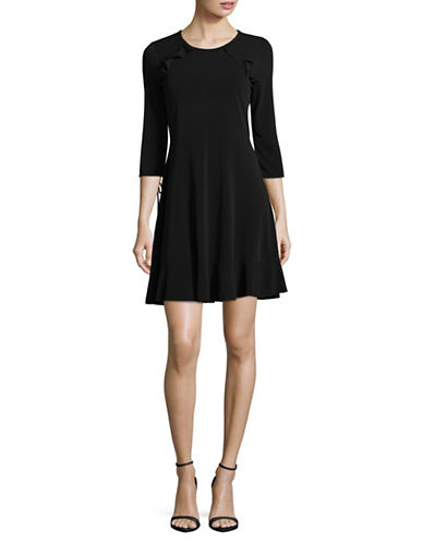 Dex Ruffle-Detail Fit-and-Flare Dress-BLACK-Large