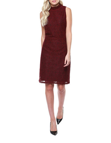 Dex Lace Sheath Dress-RED-Small