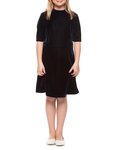 Dex Mockneck Velvet Flared Dress-BLUE-10