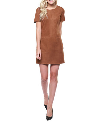 Dex Faux Suede Dress-BROWN-X-Small