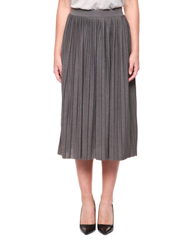 Dex Pleated Knit Skirt-GREY-Large