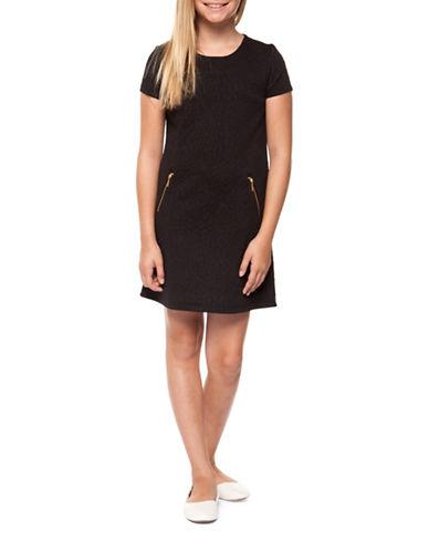 Dex Textured Shift Dress-BLACK-X-Large