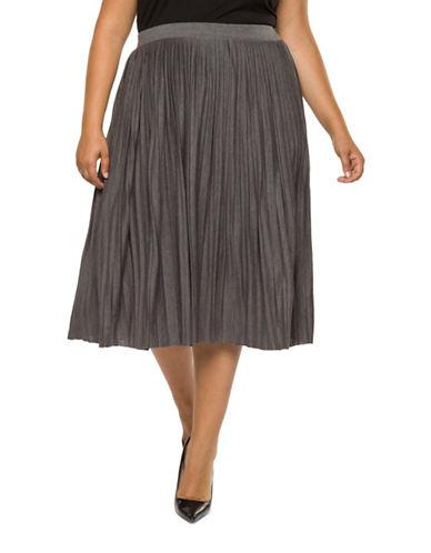 Dex Plus Pleated Skirt-GREY-2X