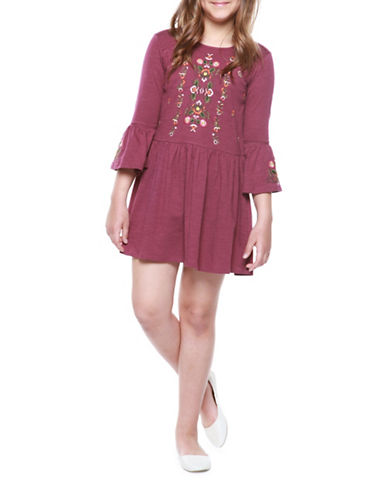 Dex Floral Embroidered Dress-PURPLE-Large