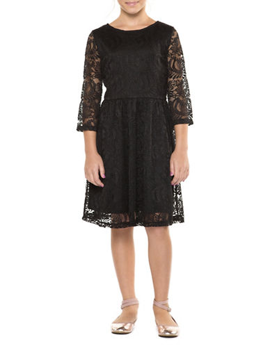 Dex Lace Fit-and-Flare Dress-BLACK-Small