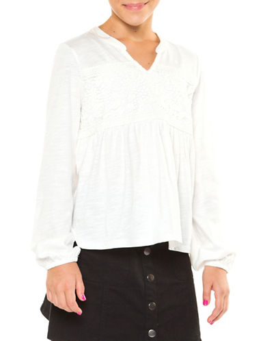Dex Lace-Trimmed Blouse-IVORY-Small