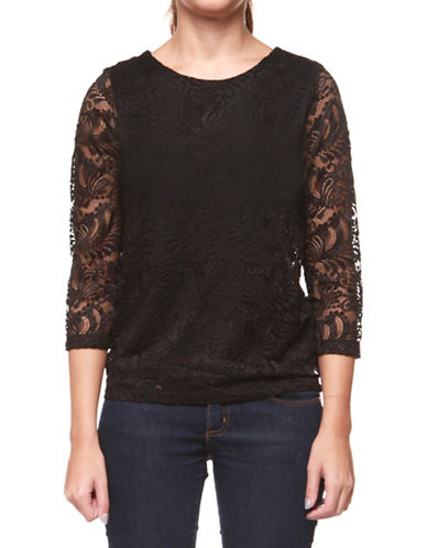 Dex Three-Quarter Sleeve Lace Top-BLACK-Small 89639968_BLACK_Small