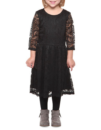 Dex Lace Fit-and-Flare Dress-BLACK-5