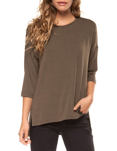 Dex Three-Quarter Sleeve Tee-BROWN-Medium