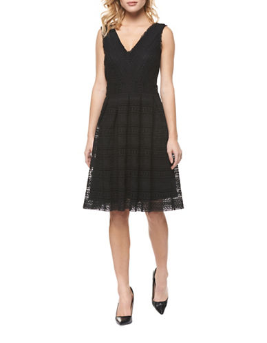 Dex Fit-and-Flare Lace Dress-BLACK-Small