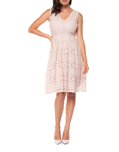 Dex Fit And Flare Pleated Dress-PINK-Small