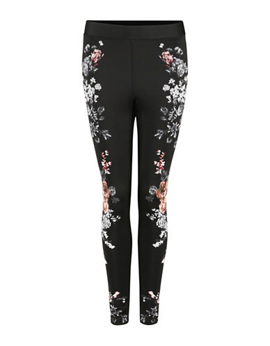 Dex Floral Printed Leggings-BLACK-X-Small 88696610_BLACK_X-Small