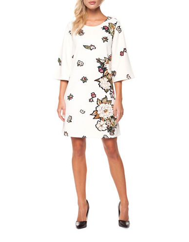 Dex Three-Quarter Sleeve Floral Shift Dress-ASSORTED-X-Large