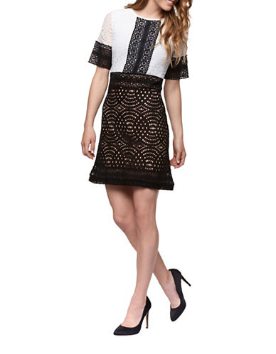 Dex Colourblock Crochet-Trim Flare Dress-BLACK/IVORY-Large