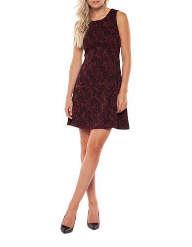 Dex Rose-Print Fit-and-Flare Dress-MULTI-Small