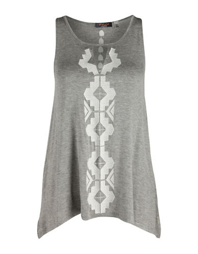 Fylo Tribal Embroidered Tank Top-GREY-Small 88367123_GREY_Small