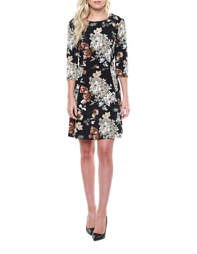 Dex Floral Print Fit-and-Flare Dress-OLIVE MULTI-Small