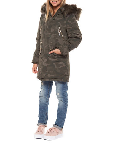 Dex Faux-Fur Trim Camo Jacket-GREEN-Small
