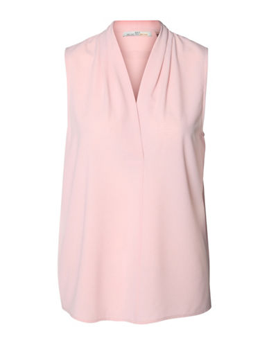 Dex Solid Woven Blouse-PINK-X-Large