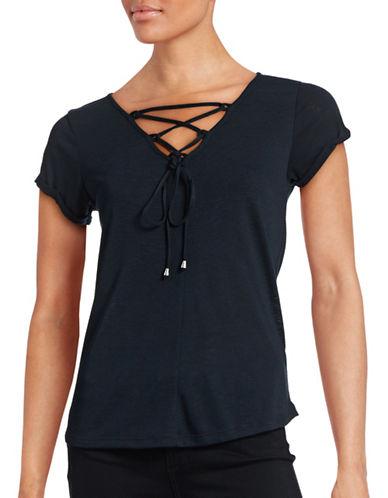 Dex Slub Knit Lace-Up T-Shirt-BLUE-Small 88626238_BLUE_Small