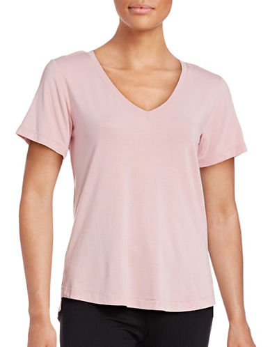 Dex V-Neck Step Hem T-Shirt-PINK-Medium 88762523_PINK_Medium